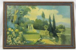 Antique 1927 Litho Print Nature#x27;s Charm Signed and Framed $69.00