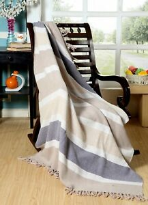 100% Luxurious Cotton  Throw Blanket Handloom Stone Wash -(Stone 50' x 60')