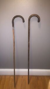 Lot of 2 Vintage Antique Walking Canes Sticks Carved Remnants of Original Finish $34.99