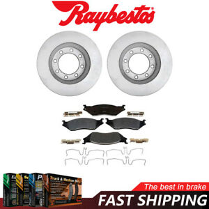 Front Coated Brake Rotors and Metallic Pads For 2014-2016 Ford F-450 Super Duty