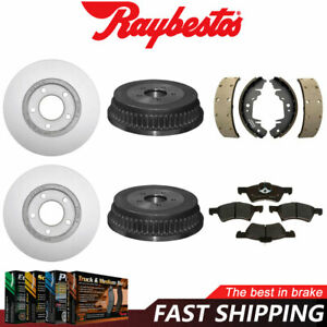 For 2003 Chrysler Town & Country Coated Rotors Metallic Pads + Brake Drums Shoes