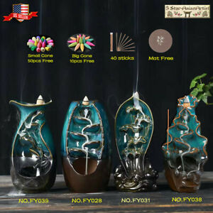 Ceramic Backflow Incense Cone Burner Holder Glaze Waterfall & Cones Gift