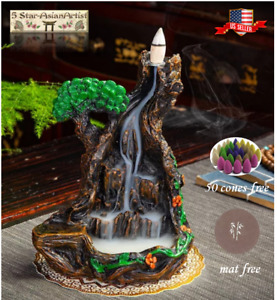 Backflow Incense Corn Burner Mountain Waterfall FY033/034 & 50pcs Cones Gift