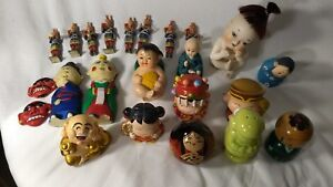 Vintage Japanese amp; Chinese dolls 2 are salt shakers and wooden musicians 24 pcs $19.99
