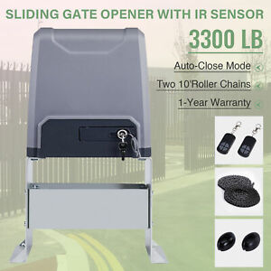 Sliding Gate Opener for Gates Up to 3300Lbs w Remote Controls.
