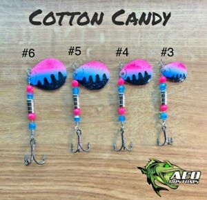 COTTON CANDY AEO Custom Fishing Spinner 4x Strong Bass Trout Pike Salmon Lure