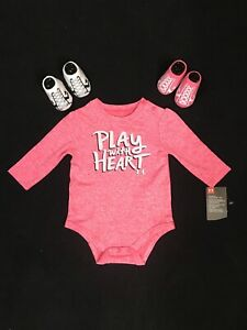 Under Armour LS Bodysuit & Convese 2 Pack Booties Crib Shoes Baby Girl Sz 0 6 Mo $18.99