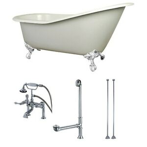 Kingston Brass KCT7D653129CW Aqua Eden Tub with Faucet Drain and Lines Combo...