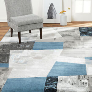 Contemporary Abstract Blue Gray Area Rug **FREE SHIPPING** $149.50