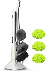 Electric Spin Scrubber w 4 Replaceable Cleaning Brush Head amp; Adjustable Handle