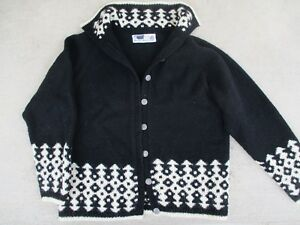 Husliden, Bergen Black n white 100% Norwegian Wool Sweater