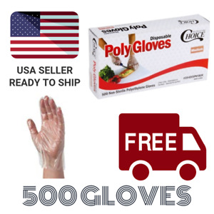 500 Disposable Poly Gloves Textured Latex Free Non-Sterile Size Medium