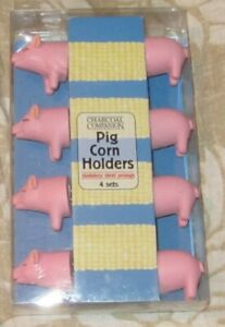 STAINLESS STEEL PRONGS NOVELTY PIG CORN (PINK) HOLDERS 4 SETS BRAND NEW