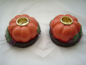 Pumpkins on Grape Vine Wreaths Tapered Candle Holders Set of 2