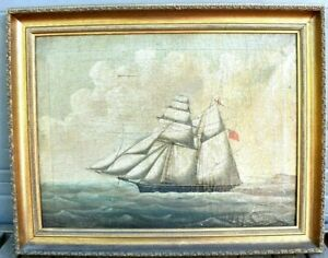 Antique Nautical Signed 1841 William Pike Schooner Ship Oil Painting Picture $2,800.00