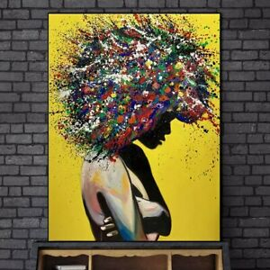 Abstract African Girl Wall Art Canvas Paintings Graffiti Art Posters Home Decor