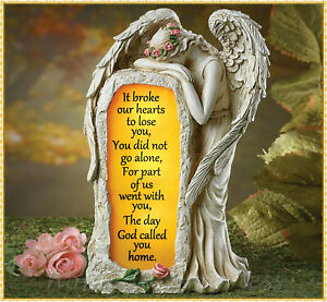 Solar Crying Angel Memorial Garden Stone Statue Grave Cemetery Beloved Departed $25.99