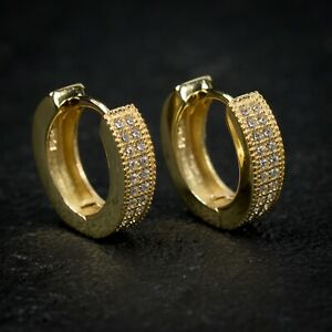 Small Iced 14k Gold Sterling Silver 2 Row Iced CZ Men's Huggie Hoop Earrings