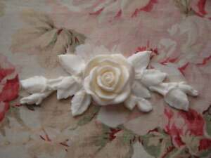 New Shabby and Chic Rose and Leaf Swag Center Furniture Applique Architectural