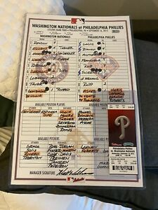 BRYCE HARPER GAME USED LINE UP CARD 40th Homerun Nationals Phillies Sept 16 1 1