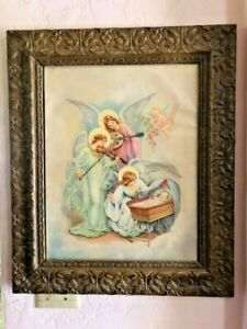 Antique Wooden Framed Victorian Lithograph Guardian Angels w Baby 22x26quot; $195.00