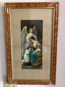 Antique Framed Victorian Lithograph Guardian Angel Mom and Daughter C1900 $155.00