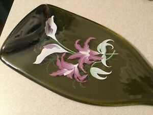 """Glass Cutting Board 14"""" Floral Painted Bottle Shaped Green Glass, Decorative"""