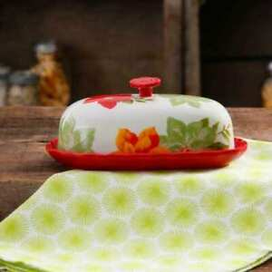 The Pioneer Woman Poinsettia Oval  Butter Dish
