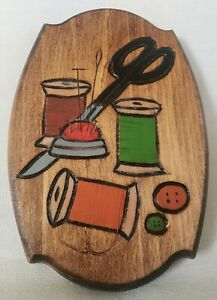 Wood Engraved Sewing Wall Plaque Handmade $12.00