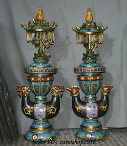 46 Big China Cloisonne Enamel Double Dragon Phoenix Incense Burner Censer Pair