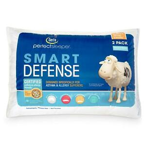 2 Serta Perfect Sleeper Queen Size Bed Pillows Soft Cotton Cover FREE SHIPPING