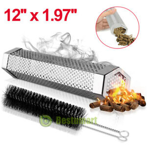 12inch BBQ Grill Smoker Tube Barbecue Wood Pellet Cold Smoking Box Grilling Meat