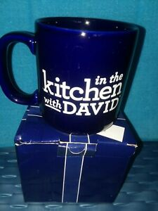 1 NEW IN THE KITCHEN WITH DAVID MUG Navy Blue 16 oz. w GIFT BOX HAPPY DANCE