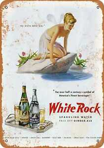 10x14 Metal Sign - White Rock Sparkling Water and Ginger Ale - Rusty Look