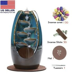 Ceramic waterfall incense burner+50 incense cones+30 incense sticks