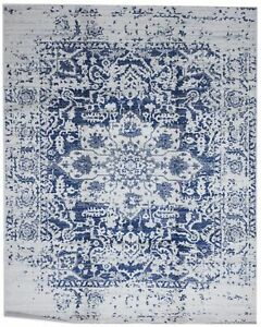 Transitional Machine Made White Ivory Blue Olefin Rug 8#x27; x 10#x27;2