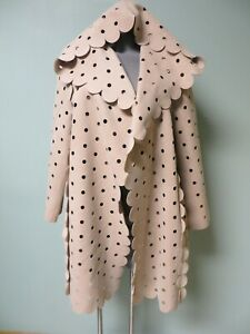 PASKAL 3D Scalloped Applique Trims Laser Cut Polka Dot Hooded Coat M Wool Felt