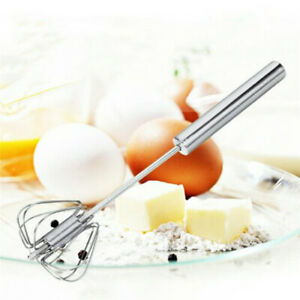Stainless Mixer Egg Beater Semi Automatic Manual Milk Whisk Tool Rotary Top $6.99