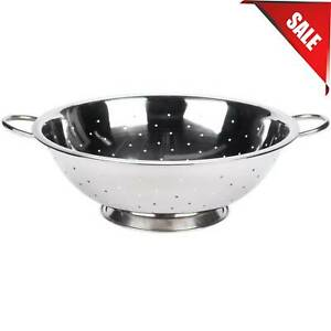 13 Qt. Kitchen Stainless Steel Round Colander Base Silver Footed with Handles