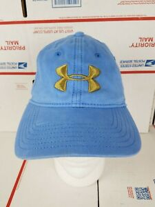 Under Armour Big Logo Hat Fitted Size M L Ball Cap Blue Gold Logo Athletic Golf $12.90