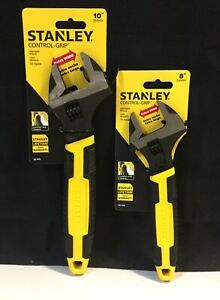 """2 Pack Stanley Control Grip Extra Wide Adjustable Wrenches 8"""" & 10"""" (T1)"""