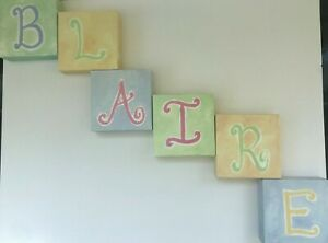 POTTERY BARN KIDS BABY Canvas Wood Block Letter Initials Wall Art BLAIRE