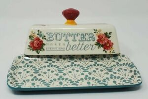 *The Pioneer Woman Teal Vintage Floral Butter Dish,New