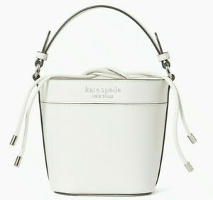 NWT Kate Spade Cameron Small Bucket Bag White Leather WKRU6734 $299 Shoulder