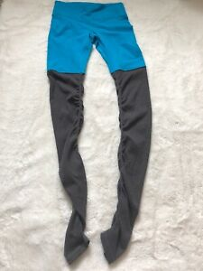 Alo Yoga Womens Pants Sz S Goddess Leggings Stretch Rouched Ribbed Gray Blue
