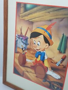 Vintage 1993 DISNEY Store Pinocchio Commemorative Lithograph Print Oak Framed   $21.21