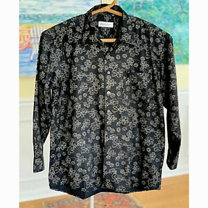 Romanticist London Xl Mens Button Front Shirt Black Floral Long Sleeve XL