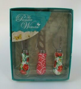 New The Pioneer Woman Vintage Floral 3 Piece Cheese Knife Serving Set $19.97