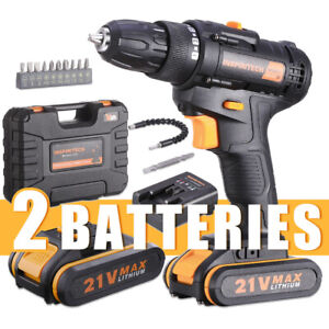 21 V drill 2 Speed Electric Cordless Drill/Driver with Bits Set