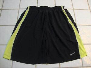 NIKE Running Shorts Lined Black Neon Yellow Trim Dri Fit Mens Size Small $15.99